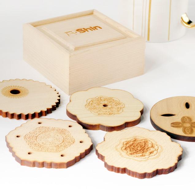 檜木杯墊套組